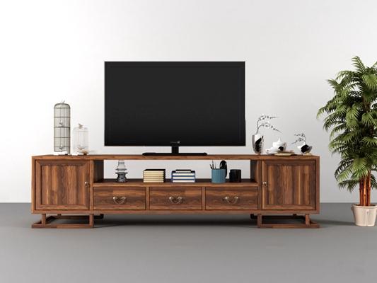 中式实木电视柜3D模型【ID:96864900】