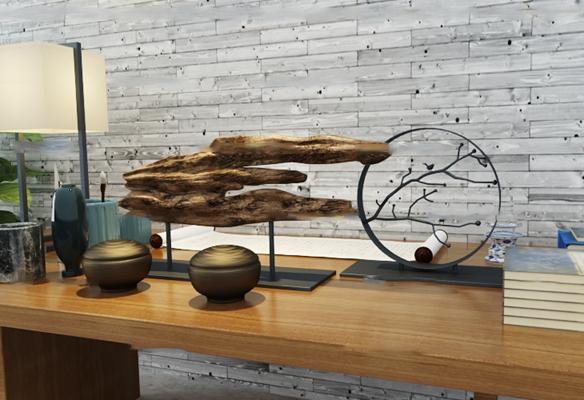 中式台灯根雕摆件组合3D模型【ID:96866918】