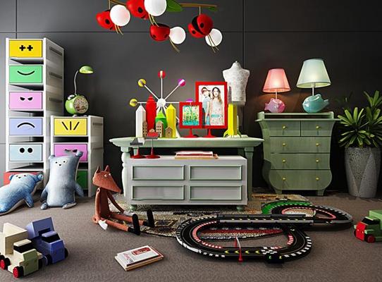 简欧儿童柜玩具吊灯组合3D模型【ID:96868528】