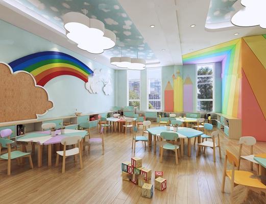 现代幼儿园美术室3D模型【ID:96872939】