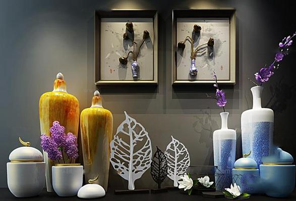 新中式陶瓷花瓶插花树叶摆件立体装饰画组合3D模型【ID:96875219】