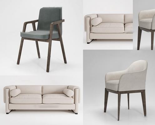 现代沙发椅子组合3D模型【ID:96875595】