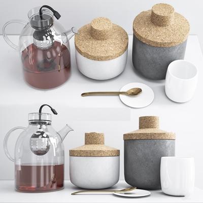 现代水壶器皿组合3D模型【ID:96877532】