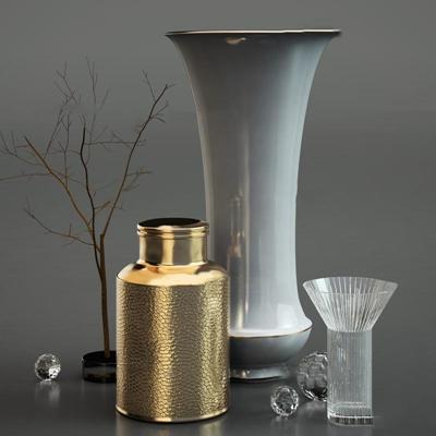现代金属陶瓷器皿玻璃杯干枝摆件组合3D模型【ID:96877918】