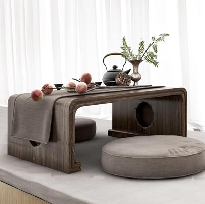 中式茶台坐垫茶具桃子窗帘组合3D模型【ID:96883460】