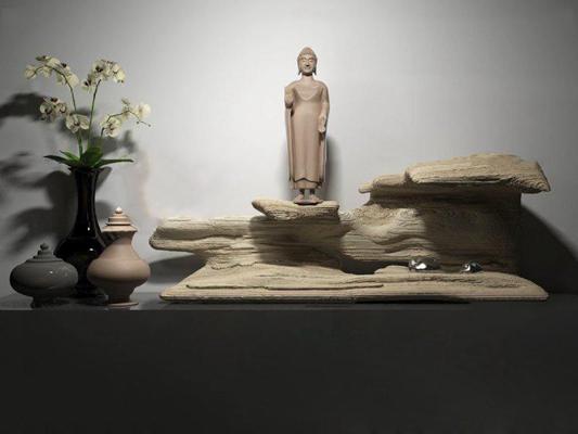 中式朽木摆件花瓶雕塑组合3D模型【ID:96883615】