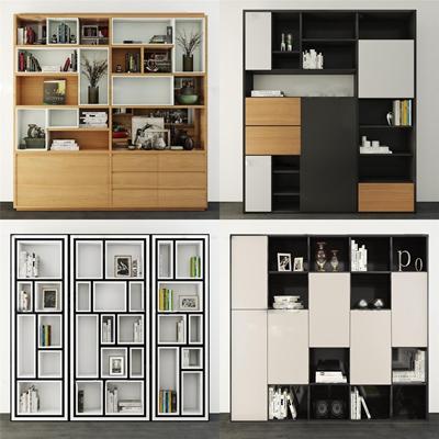 现代书柜组合3D模型【ID:96883952】