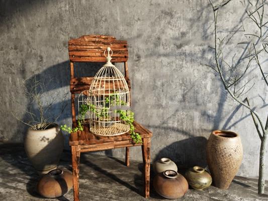 中式单椅鸟笼陶罐器皿组合3D模型【ID:96884018】