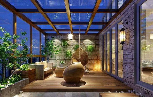 现代阳台休闲区藤编吊椅绿植树吊兰组合3D模型【ID:96884398】