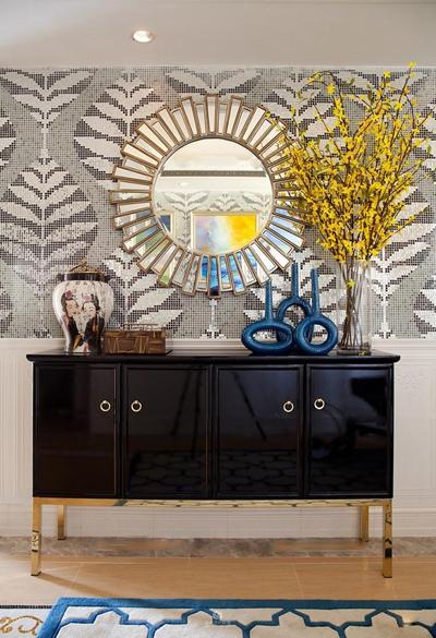 现代端景柜花瓶镜子摆件组合3D模型【ID:96885618】
