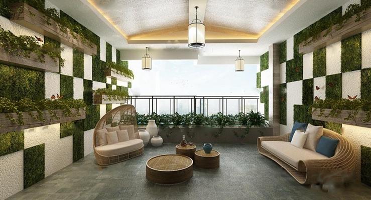 现代阳台花园藤编沙发绿植盆景墙组合3D模型【ID:96887290】