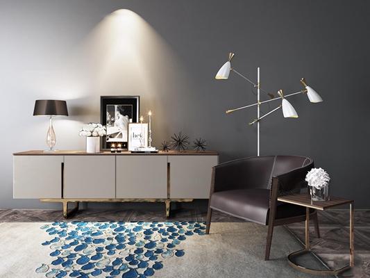 现代电视柜单椅饰品组合3D模型【ID:96888408】