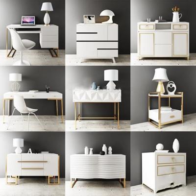 现代白色边柜斗柜书桌组合3D模型【ID:96888519】