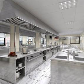 现代工装厨房3D模型【ID:428278725】