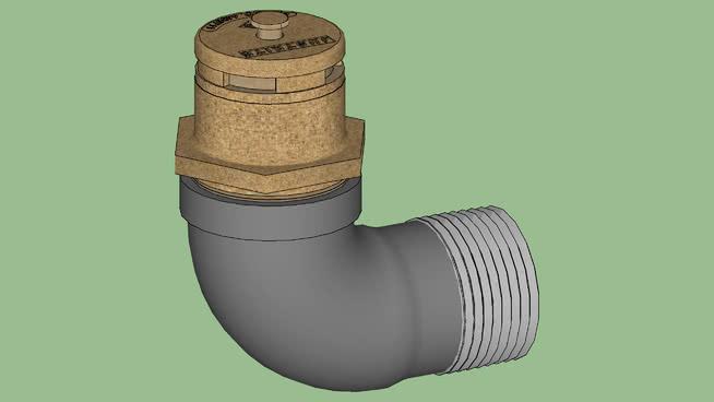 工业系列设备.容器鼓.带水平适配器的黄麻垂直黄铜鼓通风孔SU模型【ID:940059560】