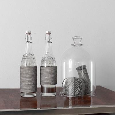 透明玻璃瓶装饰品金属3D模型【ID:96938234】