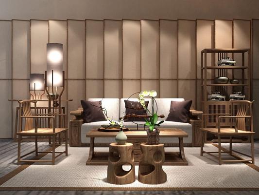 新中式沙发茶几柜子组合3D模型【ID:96960363】