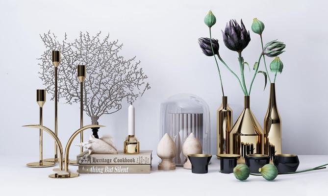现代金属花瓶烛台摆件组合3D模型【ID:96961317】