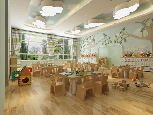 现代幼儿园教室3D模型【ID:96963238】