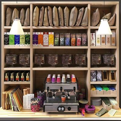 现代商品货架咖啡机餐具食品组合3D模型【ID:96963421】
