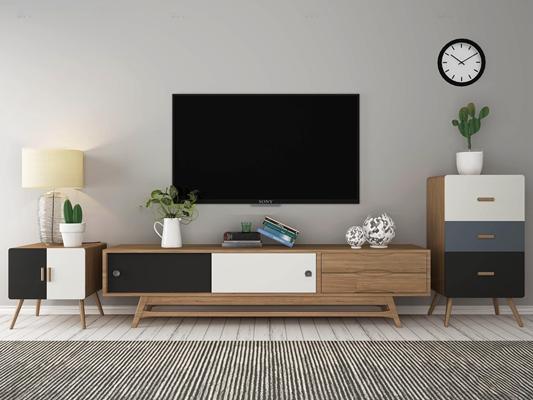 北欧实木电视柜显示器边柜斗柜台灯摆件3D模型【ID:96963806】