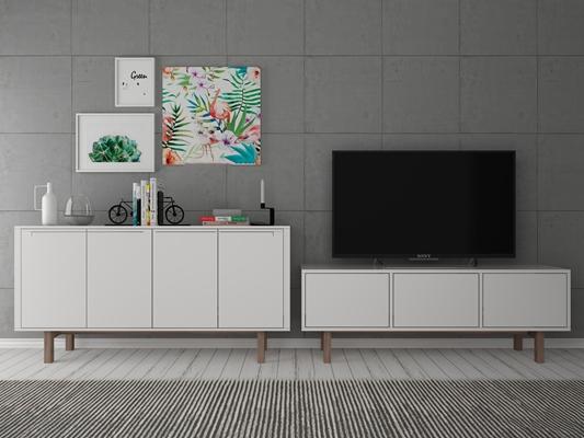 现代电视机斗柜摆件组合3D模型【ID:96964601】
