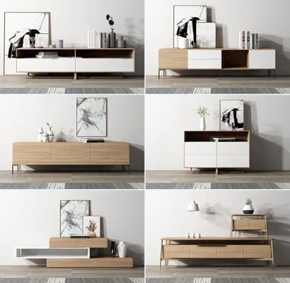 北欧实木电视柜摆件组合3D模型【ID:96965708】