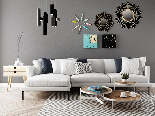 北欧转角多人沙发茶几挂件组合3D模型【ID:96966797】