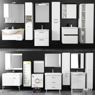 现代台盆浴室柜架组合3D模型【ID:96966840】