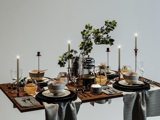 现代餐具烛台花卉摆件组合3D模型【ID:96969639】