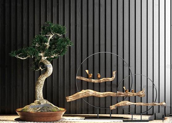 中式松树盆景枯枝摆件组合3D模型【ID:96969714】