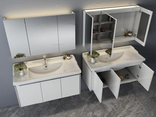 现代台盆浴室柜组合3D模型【ID:96971743】
