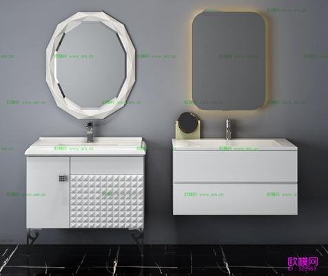 现代台盆卫浴柜镜子组合3D模型【ID:96971745】