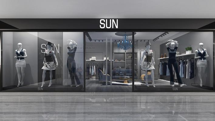 现代服装店门面3D模型【ID:96972254】