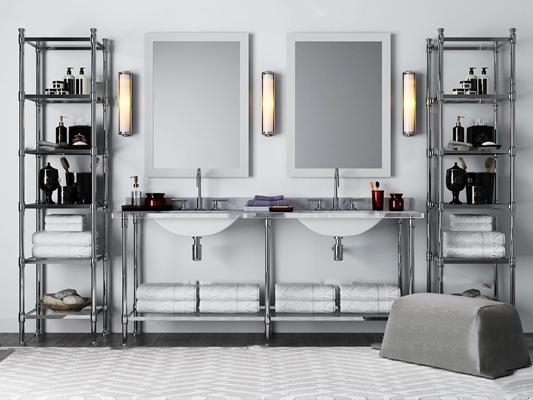 现代台盆卫浴柜架壁灯组合3D模型【ID:96972545】