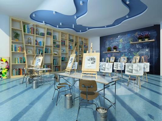 现代幼儿园美术室绘画室3D模型【ID:96974634】