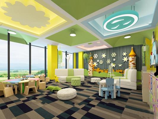 现代幼儿园活动室3D模型【ID:96974637】