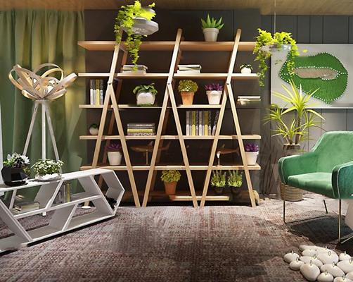 北欧实木书架休闲椅绿植盆栽书籍组合3D模型【ID:96974658】