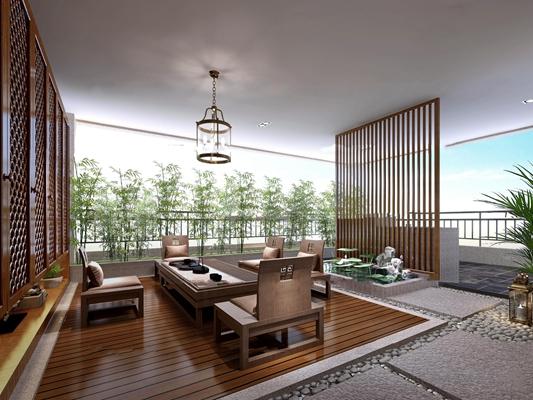 中式茶台阳台花园3D模型【ID:96974798】