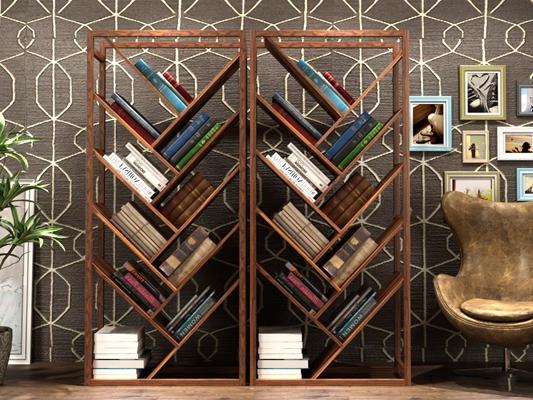 现代实木个性书柜书籍休闲椅装饰画组合3D模型【ID:96975750】
