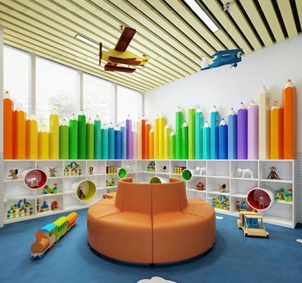 现代幼儿园活动室玩具室3D模型【ID:96975935】