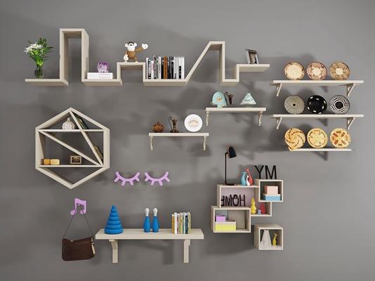 现代实木装饰架书籍摆件组合3D模型【ID:96976725】