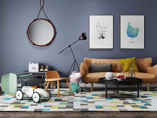 现代双人沙发儿童玩具单椅组合3D模型【ID:96976870】