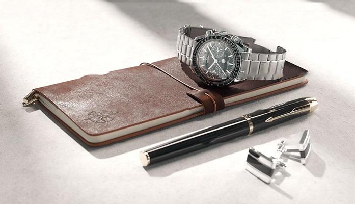 现代钢笔手表记事本组合3D模型【ID:96976961】