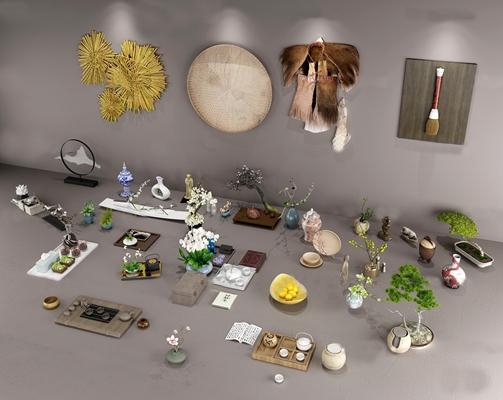 中式茶具花瓶盆栽蓑衣陶瓷摆件组合3D模型【ID:96977014】