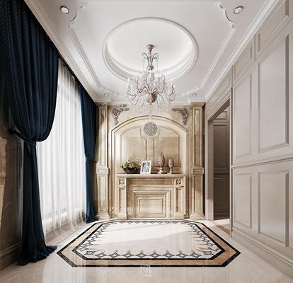 欧式门厅玄关过道3D模型