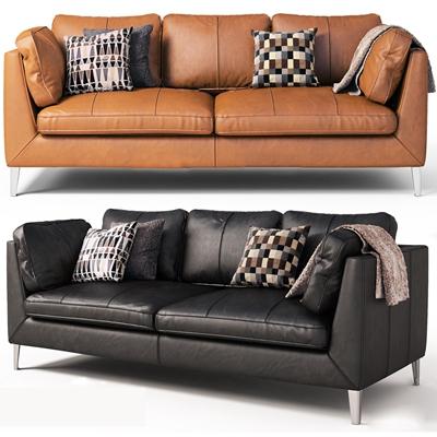现代皮革双人沙发3D模型【ID:96980377】