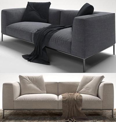 现代布艺双人沙发组合3D模型【ID:96982576】