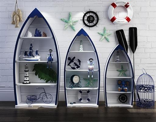 地中海船形儿童装饰柜摆件挂件组合3D模型【ID:96982726】