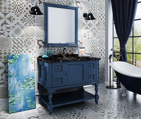 美式台盆卫浴柜浴缸组合34D模型3D模型【ID:96982842】